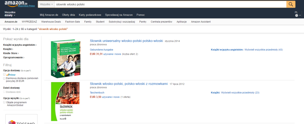 Navigation Amazon in Polish. Source: amazon.de