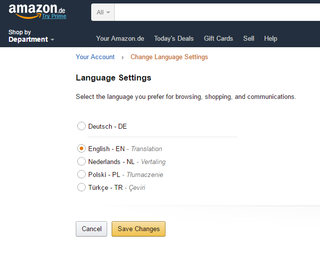 Amazon language selection Source: amazon.de